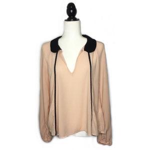 Zara Peter Pan Collar Blush Blouse